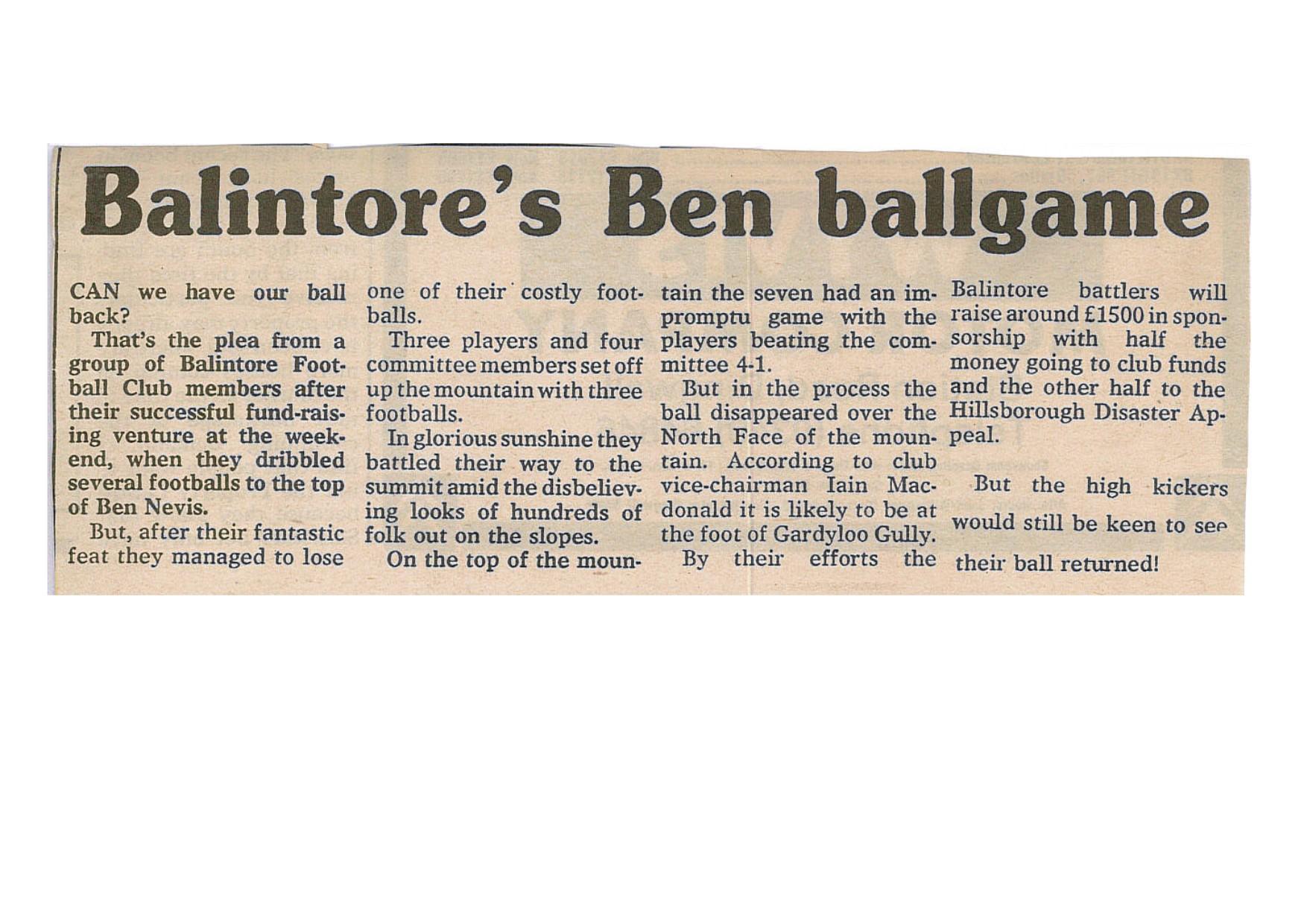 balintore FC nevis news clipping